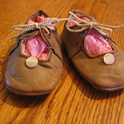 Sweet Little Leather Tie Shoes for Doll or Baby