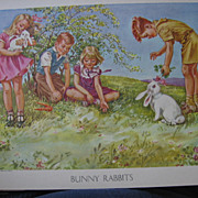 Unused Sunday School Attendance Record Bunny Rabbit Litho