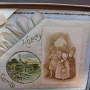 REDUCED Antique Whitney Greeting Card with Celluloid Adornment Victorian Children and an easel