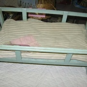 SALE 1930s Doll Cradle with Green Paint
