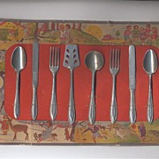 SALE Made In Germany Toy Utensil Set on Original Lithographed Card