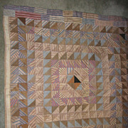 REDUCED Antique Mennnonite Crib Quilt Pleasing Brown & Blue Check Fabrics