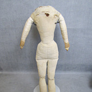 "SALE c1860 Antique Cloth Doll Body 14"" for China Head"