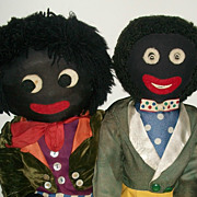 Great Pair of Early Vintage Black Cloth Golliwogs Dolls