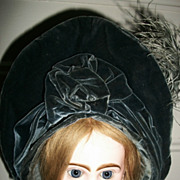 Beautiful Wire Frame Antique Blue Silk / Velvet Doll Bonnet for you French Bebe