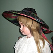 Great Early Vintage Straw Doll Hat w Millinery tag