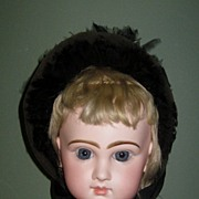 Fabulous Antique Wire Brimmed Doll Bonnet, French or German