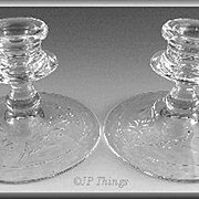 Fostoria 2324 Candlestick Set with Hand Cut Floral Design
