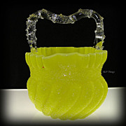Victorian Overshot Yellow Opaque Swirl Glass Thorne Handled Basket