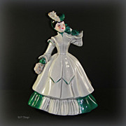 Florence Matilda Green & Gray with Spaghetti Accents Figurine by Florence Ceramics Pasadena Ca