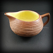 Mid Century Rustic Brown and Yellow Creamer Pigeon Forge Pottery Tenn