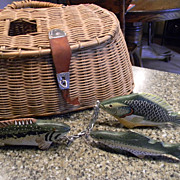 Vintage Fishing Creel and Fish