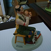 Norman Rockwell Porcelain Figurines Collection Man Threading A Needle