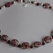 Festive Cranberry Swirl Lampwork Necklace with Pearls
