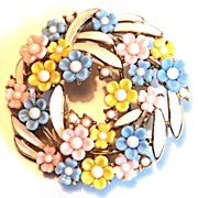Trifari Wreath Flower Brooch