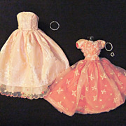 Vintage Handmade Barbie-size dresses (2), circa 1960s
