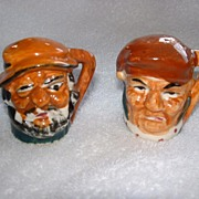 SALE Vintage Porcelain Toby  Head Salt & Pepper Shakers.