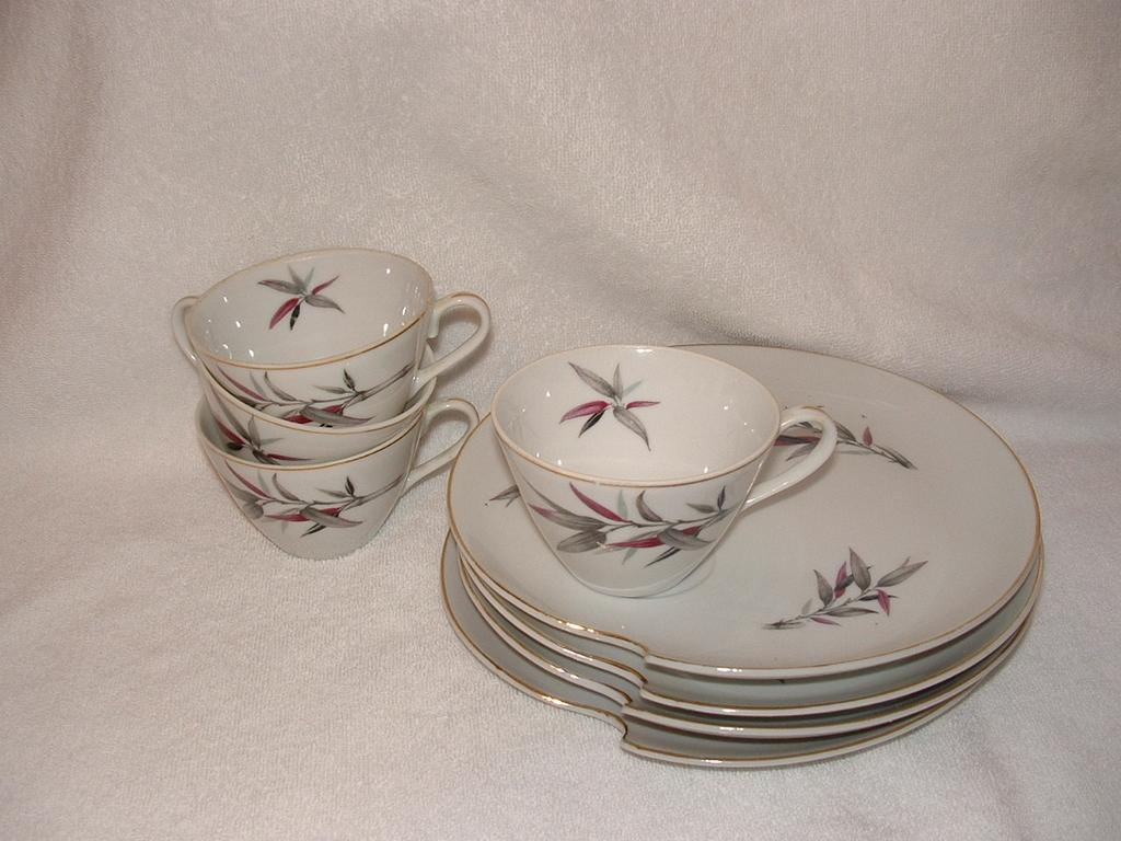 Napco China, Hand painted Snack Or Lunch Set: Gold Trim