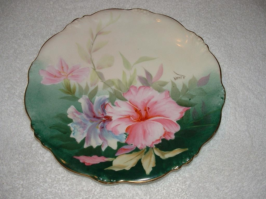 Beautiful  Hand Painted HIBISCUS, Limoges Signed Plate  1900-1914