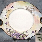 REDUCED Jean J. Pouyat Limoges France, Floral Handled Cake Plate
