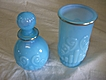 Vintage Bristol Blue AVON Vanity Glass & Decanter, Blue Opaline