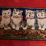 Vintage Tapestry Wall Hanging With 4 White Kittens / Cats, Italy