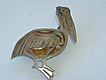Figural Mexican Sterling & Inlay Abalone  Pelican Pin, JHE