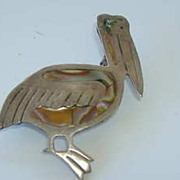 SALE Figural Mexican Sterling & Inlay Abalone  Pelican Pin, JHE