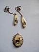 Vintage, Hand Painted Deer On Bone / Antler Pendent & Earring Set