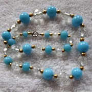 Vintage Glass & Gold Toned Beaded Necklace, Turquoise color & Clear