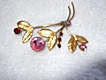 Vintage Colored Rhinestone Floral Brooch Pin