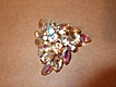 Vintage, 3 Sided Iridescent Rhinestone, Brooch Pin