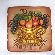 1966 Miller Studio Inc. Chalkware Fruit & Basket Tile
