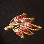REDUCED Vintage Coro, Gold Tone  Brooch Pin , With Colored Rhinestones
