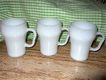 3 Fire King, Coca Cola Shaped White Cup or Mugs Marked
