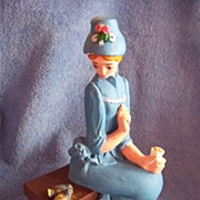 Large Vintage Plaster, Women Feeding Birds Figurine  1981