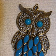 REDUCED Large Metal Owl Pendent W/ Turquoise Color Eyes & Drops