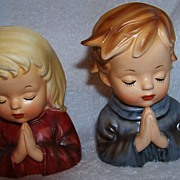 REDUCED Inarco Japan, Praying Boy & Girl Head Vases