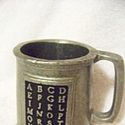 SALE Vintage Pewter ABC Cup or Mug, With All Of ABC