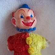 REDUCED Vintage Knickerbocker Clown, Plush Stuffed Body, Vinyl Head Felt Hands