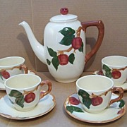 SALE Franciscan Apple Coffee Pot, 4 Cups & Saucers