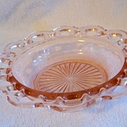 REDUCED Anchor Hocking  Pink Cereal Bowl, Old Colony Lace Edge