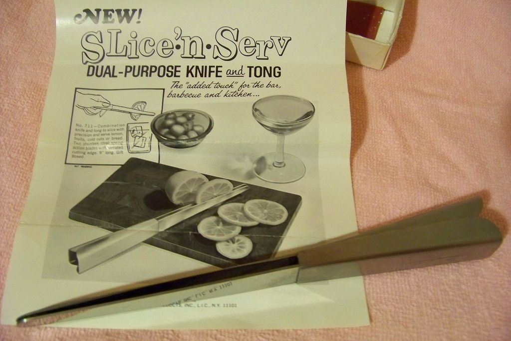 Vintage Rainbow, Slice-n-Serve Dual-Purpose Knife & Tong W/ Box