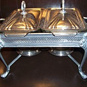 SALE Fire King Metal & Glass Double Chafing Dish Warmer W Lids