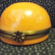 REDUCED Limoges Orange Star Round Box, Peint Main P V