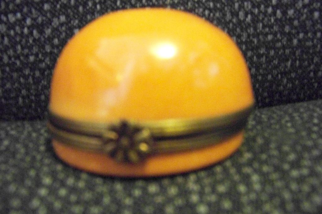 Limoges Orange Star Round Box, Peint Main P V