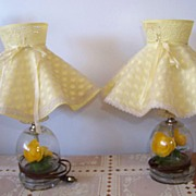 SALE 2 Vintage Yellow Floral Bubble Dresser Lamps, Table, Pair