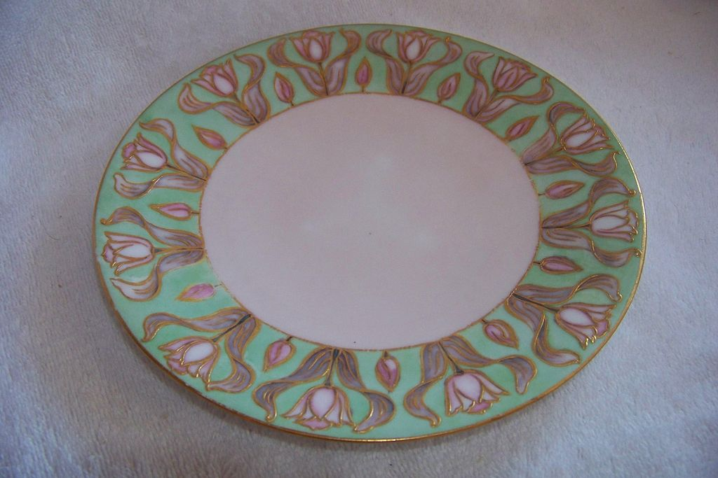 JP Limoges Handpainted Tulip Plate Raised Gold Borders