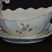 REDUCED Limoges Art Nouveau Wave Form Sauce Boat W Underplate