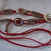 Red Leather Strap W/ Concho & Beads, Western Necklace